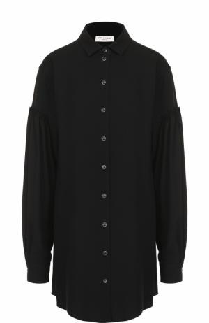 Платье-рубашка с декорированными пуговицами Saint Laurent. Цвет: черный