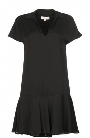 Мини-платье с глубоким V-образным вырезом и асимметричной юбкой Paul&Joe. Цвет: черный