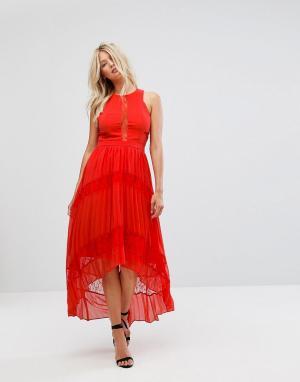 Adelyn Rae Платье макси с кружевными вставками Irina. Цвет: оранжевый