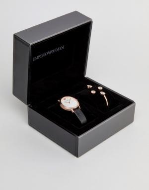 Emporio Armani Подарочный набор с часами, серьгами и браслетом AR80011. Цвет: черный