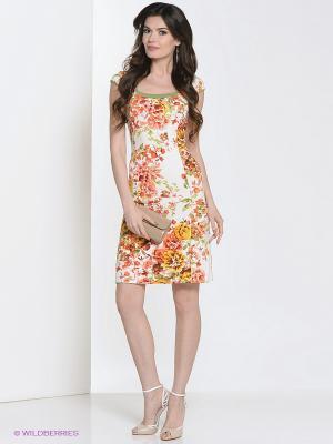 Платье Hammond. Цвет: оранжевый, молочный