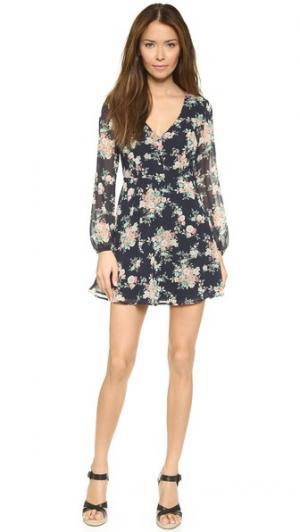 Мини-платье с цветочным рисунком Love Sadie. Цвет: темно-синий цветочный принт