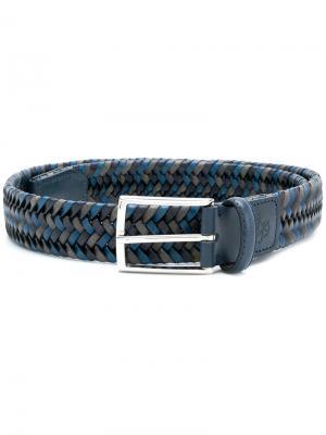 Плетеный ремень с пряжкой Canali. Цвет: синий