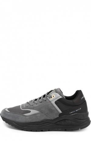 Кроссовки с отделкой из замши на многослойной подошве Frankie Morello. Цвет: темно-серый