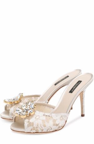 Кружевные мюли Keira на шпильке Dolce & Gabbana. Цвет: белый