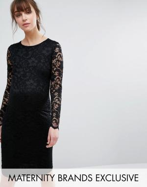Queen Bee Кружевное облегающее платье. Цвет: черный