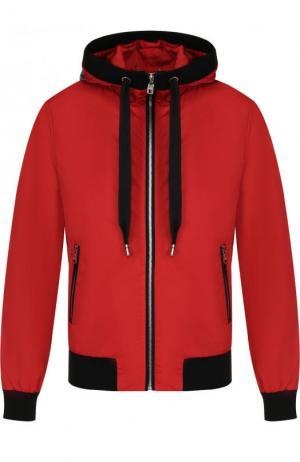 Бомбер с капюшоном и контрастной отделкой Dolce & Gabbana. Цвет: красный