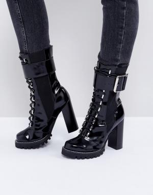 Jeffrey Campbell Черные ботинки на шнуровке и каблуке. Цвет: черный