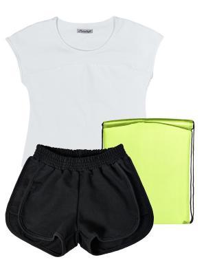 Комплект для физкультуры с шортами девочки МИКИТА. Цвет: черный, белый