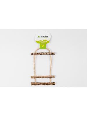 Игрушка для птиц Лесенка сизаль-орешник три ступеньки с колоколькиком 35см Zoobaloo. Цвет: коричневый