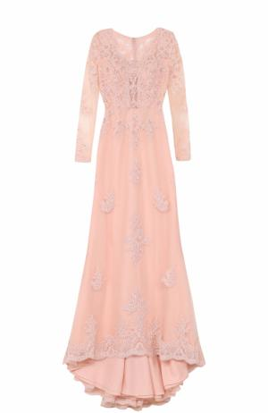 Платье-макси с вышивкой и длинным подолом Basix Black Label. Цвет: розовый