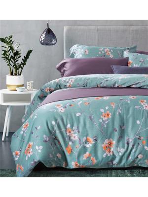 Постельное белье евро, люкс-сатин, египет. хлопок, 4 нав. (50х70, 70х70), цветы на голубом Asabella. Цвет: серо-голубой, сливовый