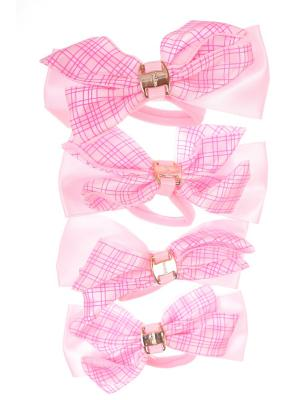 Резинки бантики с крупной прямой сеткой, светло розовый, набор 4 шт Радужки. Цвет: розовый