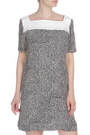 Платье с квадратной горловиной Liviana Conti. Цвет: черно-белый