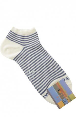 Хлопковые укороченные носки в полоску Gallo. Цвет: белый