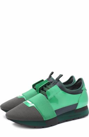 Комбинированные кроссовки Race Balenciaga. Цвет: зеленый