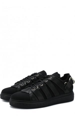Текстильные кеды на шнуровке с кожаной отделкой Fausto Puglisi. Цвет: черный
