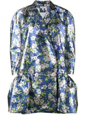 Жаккардовое пальто с цветочным рисунком Delpozo. Цвет: синий