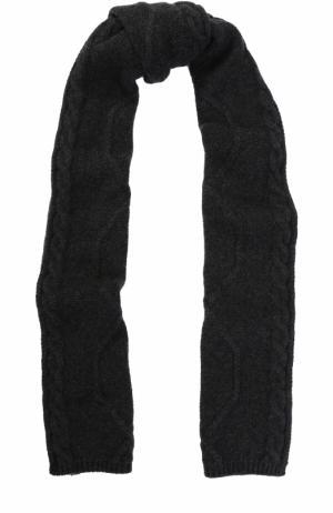 Шерстяной шарф фактурной вязки Colombo. Цвет: темно-серый