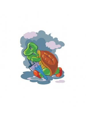Живопись на холсте. Размер 30х40 см.. Черепаха с зонтиком (723-AS ) Белоснежка. Цвет: белый