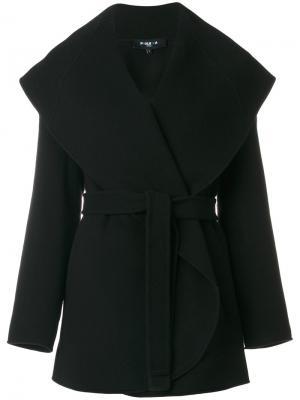 Пальто с поясом Paule Ka. Цвет: чёрный