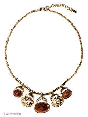Колье Bijoux Land. Цвет: коричневый, золотистый