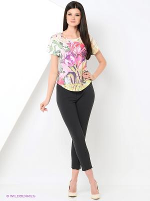 Футболка Taya jeans. Цвет: фуксия, зеленый