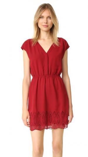 Платье с вышивкой и короткими рукавами Madewell. Цвет: яркий гранатовый