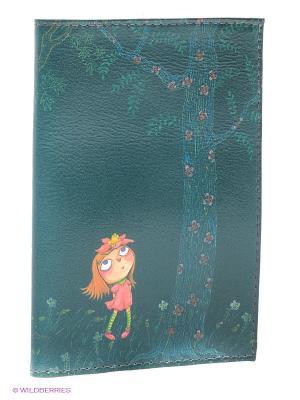 Обложка для паспорта Девочка в розовом платье ночью Mitya Veselkov. Цвет: зеленый