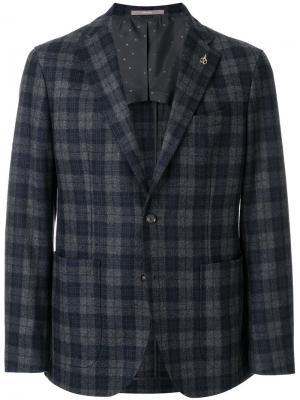 Пиджак в клетку Paoloni. Цвет: серый