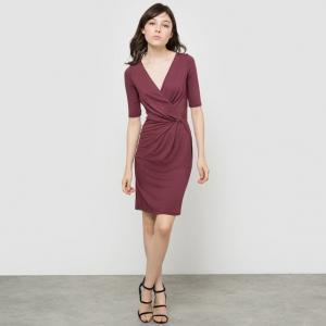 Платье трикотажное с рукавами 3/4 R édition. Цвет: бордовый,черный