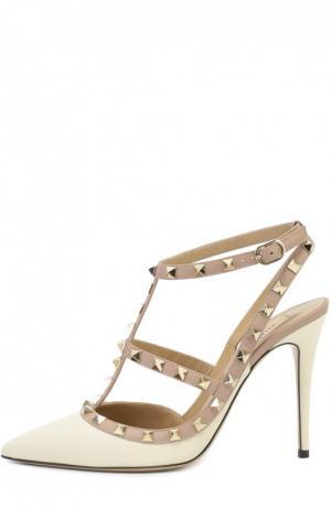 Кожаные туфли Rockstud на шпильке Valentino. Цвет: белый