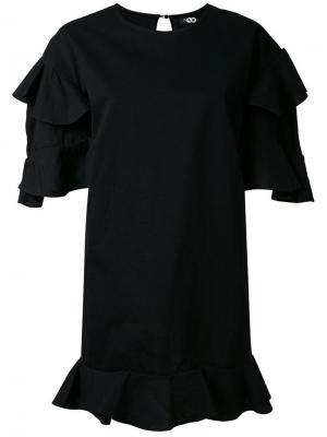 Платье мини с оборками DressCamp. Цвет: чёрный