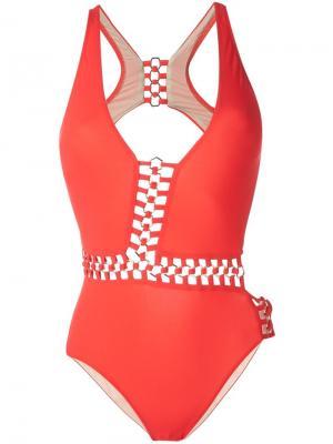 Слитный купальник Vanessa Moeva. Цвет: красный