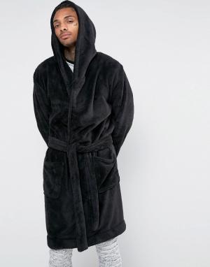 ASOS Флисовый халат с капюшоном. Цвет: черный