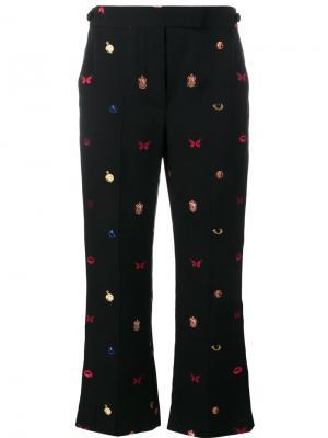 Укороченные брюки с вышивкой Alexander McQueen. Цвет: чёрный