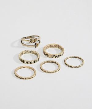 ASOS Набор золотистых колец DESIGN. Цвет: золотой