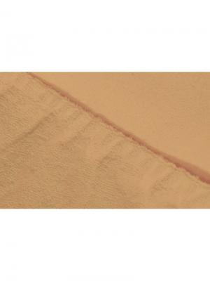 Простыня на резинке махровая 160х200 ECOTEX. Цвет: персиковый