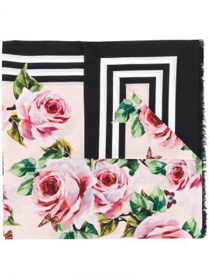 Платок с принтом Dolce & Gabbana. Цвет: розовый и фиолетовый