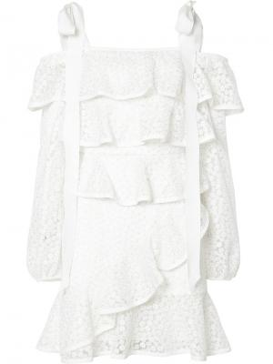 Короткое платье Farina Rebecca Vallance. Цвет: белый
