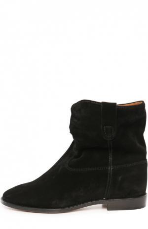 Замшевые ботинки с широким голенищем Isabel Marant Etoile. Цвет: черный