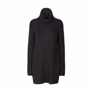 Пуловер с воротником отворотом из тонкого трикотажа AND LESS. Цвет: черный