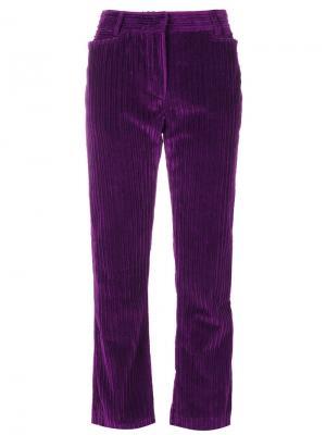 Укороченные прямые брюки в рубчик Philosophy Di Lorenzo Serafini. Цвет: розовый и фиолетовый