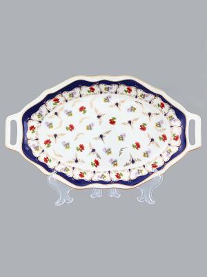 Блюдо для нарезки Цветочек Elan Gallery. Цвет: белый, синий, зеленый, красный