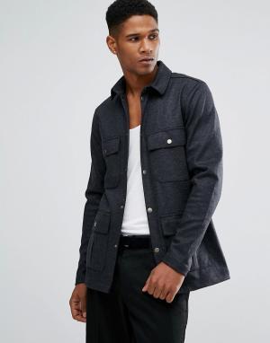 Just Junkies Рубашка навыпуск с карманами в стиле милитари. Цвет: коричневый