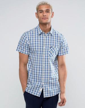 Jack Wills Клетчатая рубашка классического кроя с короткими рукавами. Цвет: синий