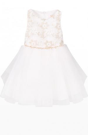 Платье с пышной юбкой и декоративной вышивкой David Charles. Цвет: белый