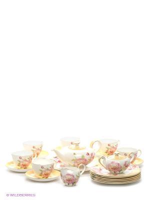 Чайный сервиз на 6 персон Пионы Pavone. Цвет: белый, желтый