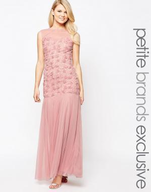 John Zack Petite Платье макси с объемной цветочной отделкой и юбкой из тюля P. Цвет: розовый