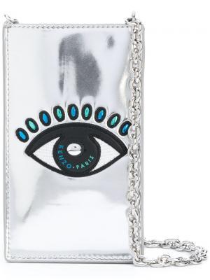Сумка для iPhone с изображением глаза Kenzo. Цвет: металлический